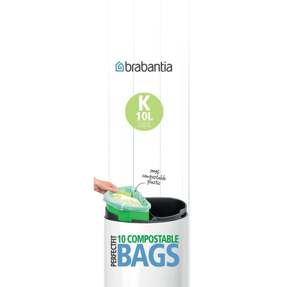 Торба за кош Brabantia размер K (Twin), 10L, 10 броя, зелени, биоразградими