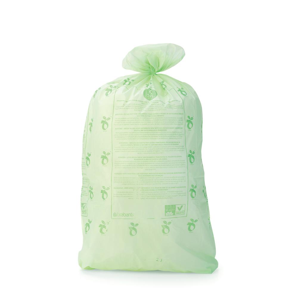 Торба за кош Brabantia размер K (Twin), 10L, 10 броя, зелени, биоразградими(2)