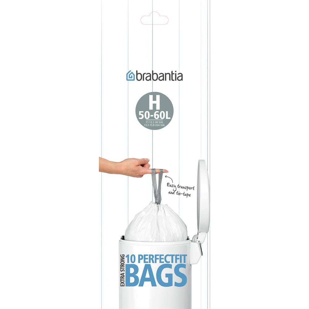 Торба за кош Brabantia размер H, 50-60L, 10 броя, бели