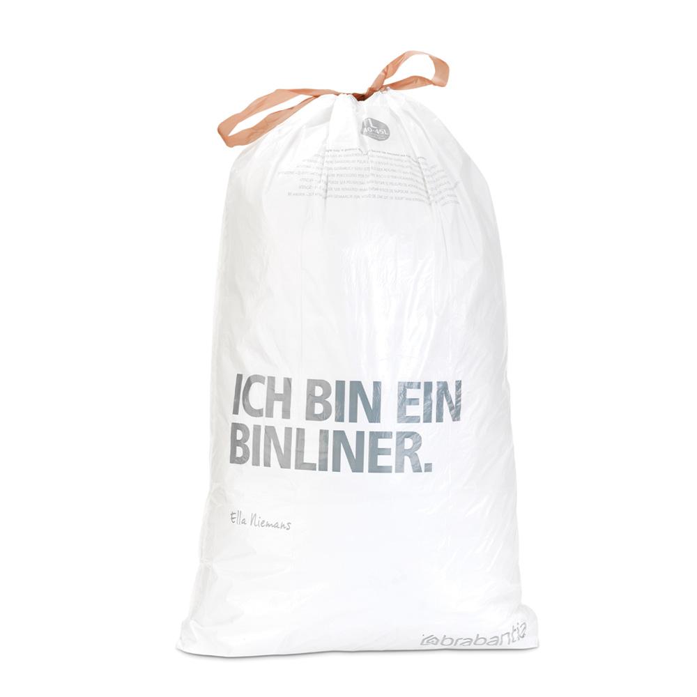 Торба за кош Brabantia размер L, 40-45L, 10 броя, бели(2)