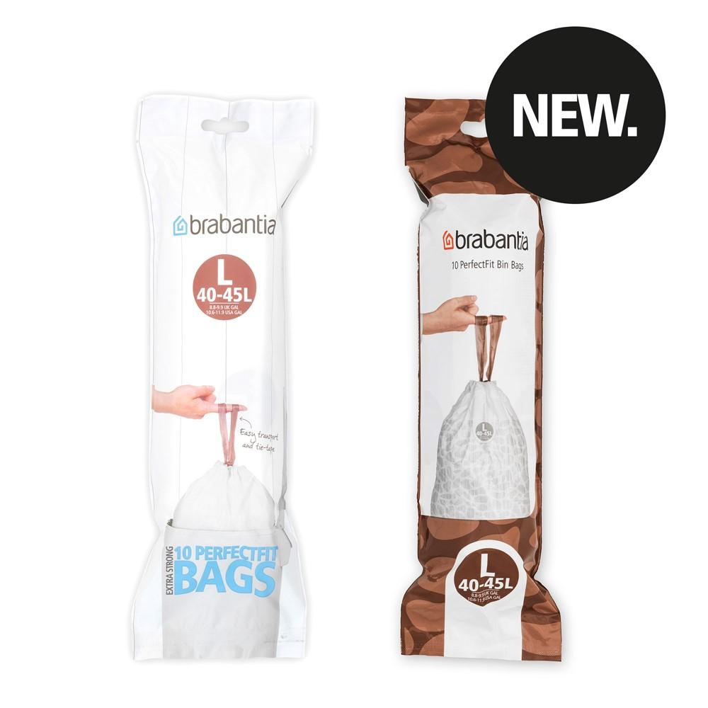 Торба за кош Brabantia размер L, 40-45L, 10 броя, бели(4)