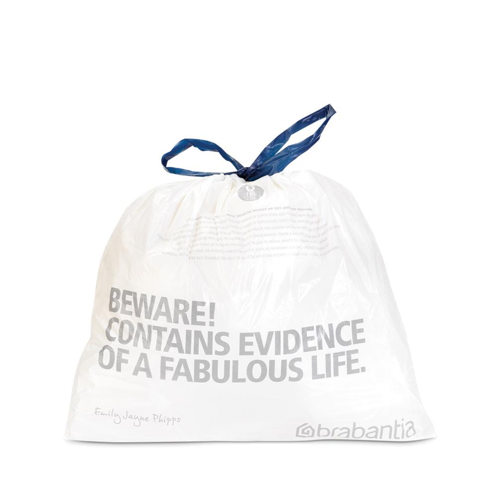 Торба за кош Brabantia размер Q, 18L, 20 броя, бели(2)