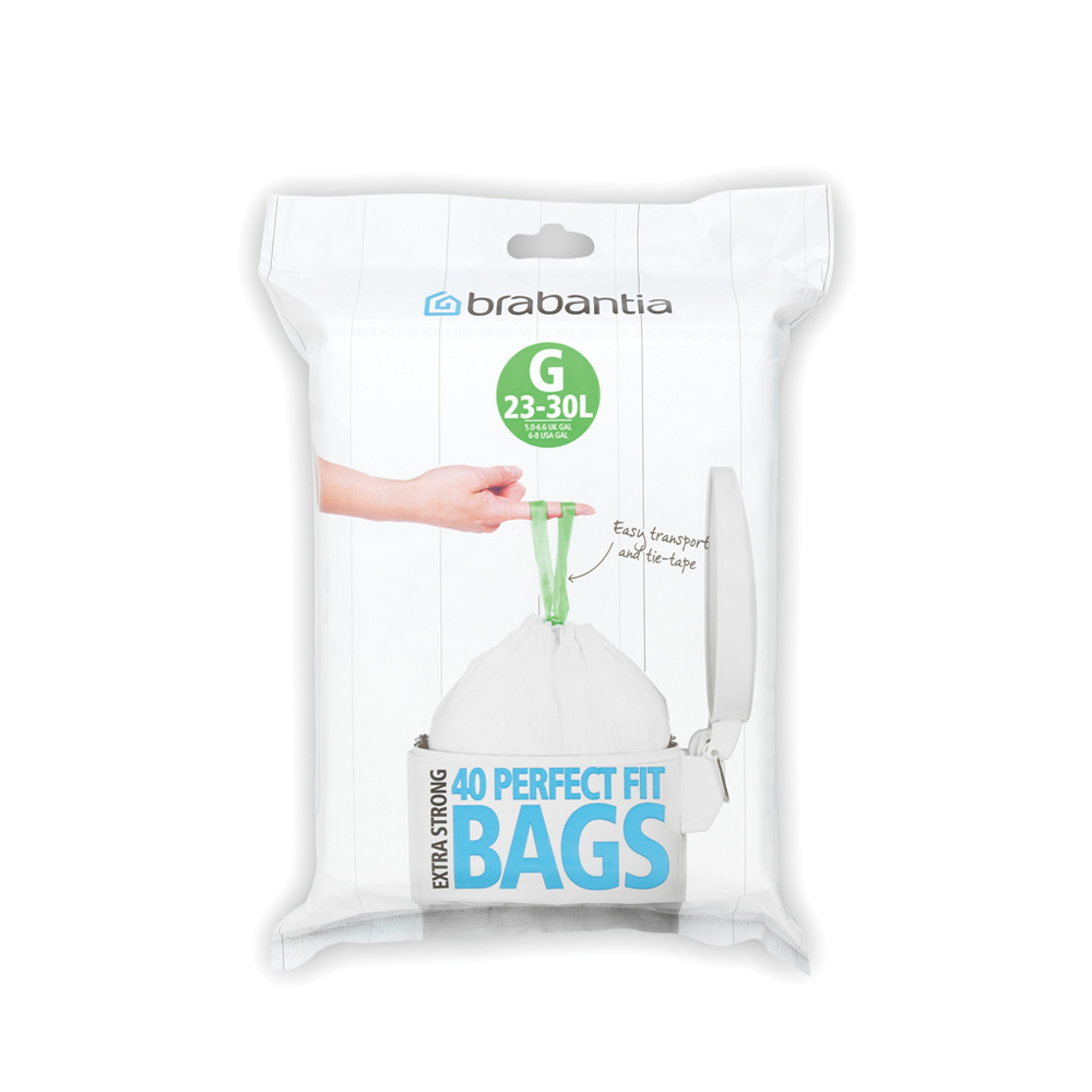 Торба за кош Brabantia размер G, 23-30L, 40 броя, бели