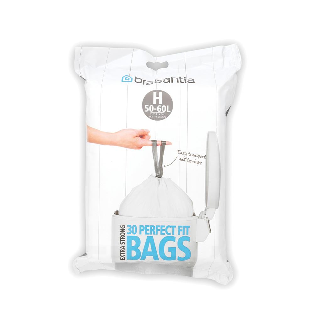Торба за кош Brabantia размер H, 50-60L, 30 броя, бели