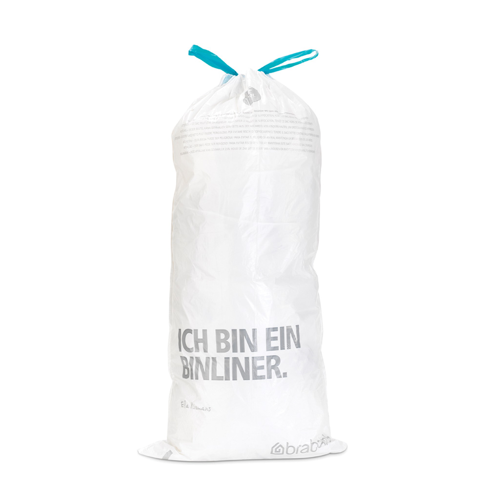 Торба за кош Brabantia размер F (Slimline), 20L, 40 броя, бели(1)