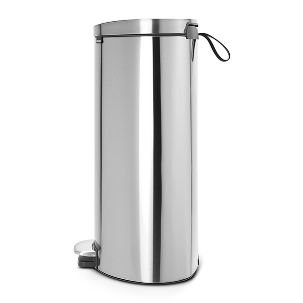 Кош за смет с педал Brabantia FlatBack+ 40L, Matt Steel Fingerprint Proof