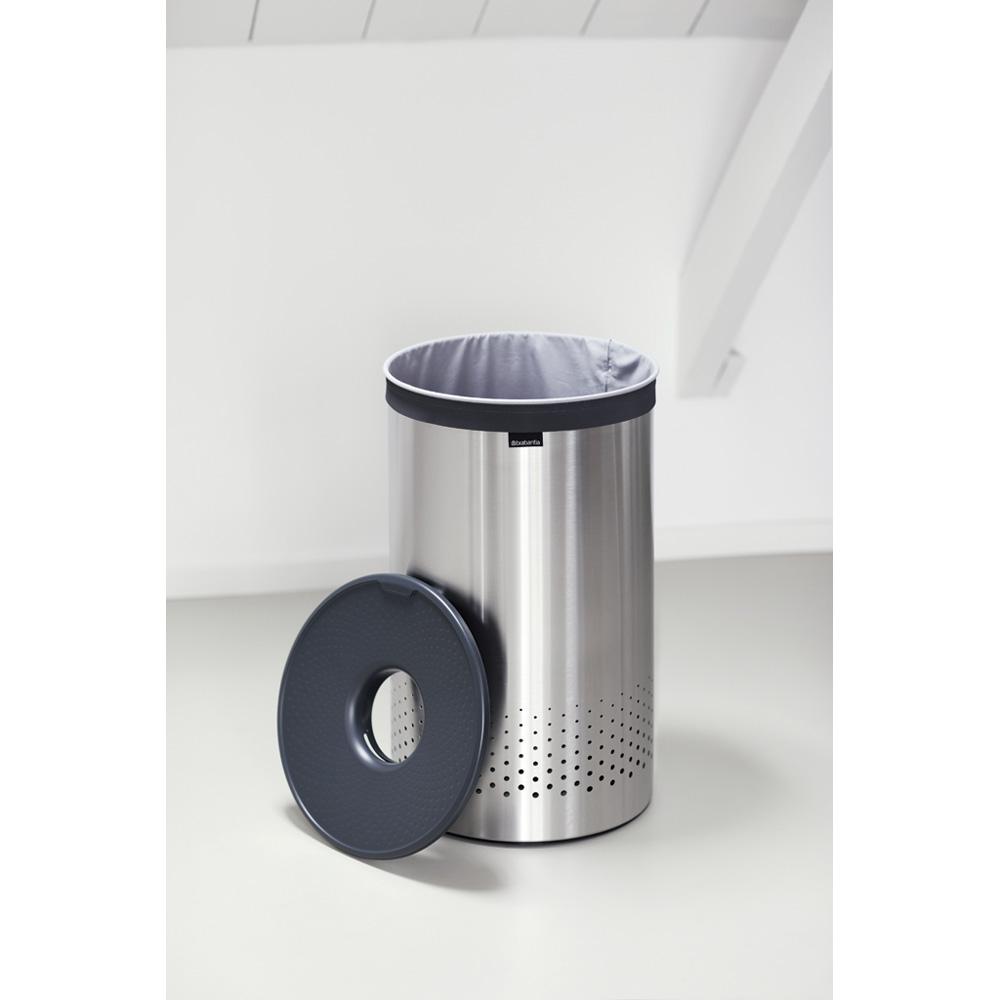 Кош за пране Brabantia 60L, Matt Steel, пластмасов капак(1)