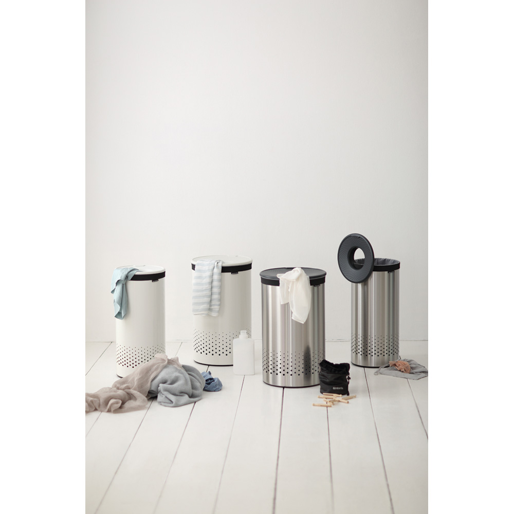 Кош за пране Brabantia 60L, Matt Steel, пластмасов капак(12)