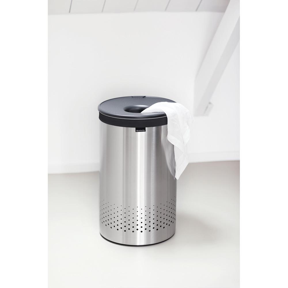 Кош за пране Brabantia 60L, Matt Steel, пластмасов капак(2)
