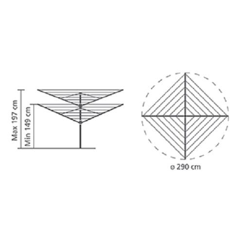 Външен простор Brabantia Lift-O-Matic Advance 50m, метален шиш за вкопаване или бетониране, калъф, торба за щипки(10)