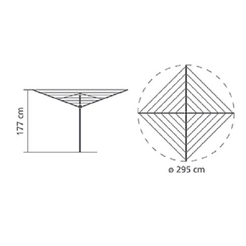 Външен простор Brabantia Essential 50m, котва за бетониране(10)