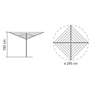 Външен простор Brabantia TopSpinner 50m, метален шиш за вкопаване или бетониране, калъф(13)