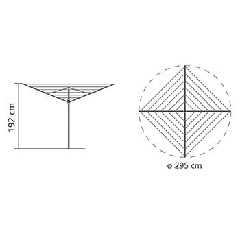 Външен простор Brabantia TopSpinner 60m, метален шиш за вкопаване или бетониране, калъф(13)