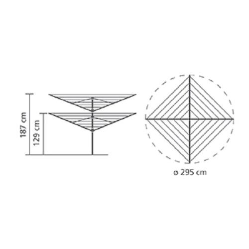 Външен простор Brabantia Lift-O-Matic 50m, метален шиш за вкопаване или бетониране, калъф(13)