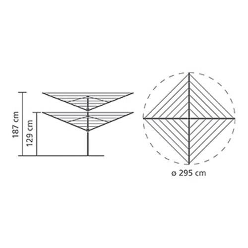 Външен простор Brabantia Lift-O-Matic 60m, метален шиш за вкопаване или бетониране, калъф(12)