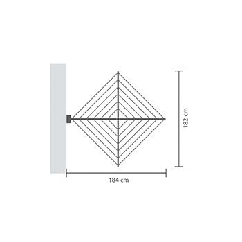 Простор за стена Brabantia WallFix 24m, Metallic Grey, калъф(20)