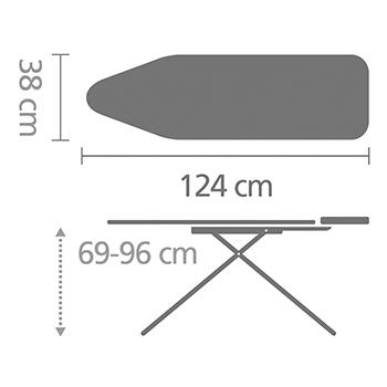 Маса за гладене Brabantia B 124x38cm с поставка за парогенератор, PerfectFlow Bubbles(12)
