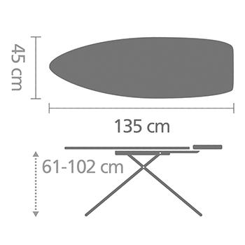 Маса за гладене Brabantia D 135x45cm с топлоустойчива зона за ютия, Lavender(6)