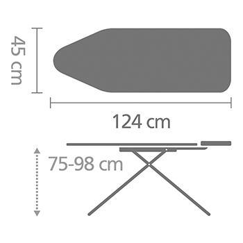 Маса за гладене Brabantia C 124x45cm с компактна поставка за ютия и рафт за дрехи, Ecru(7)