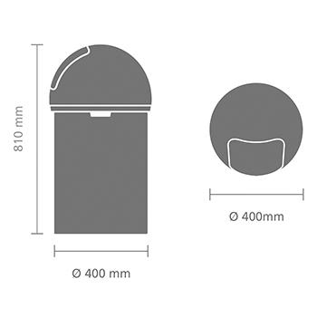 Кош за смет Brabantia Push 60L, Brilliant Steel(12)
