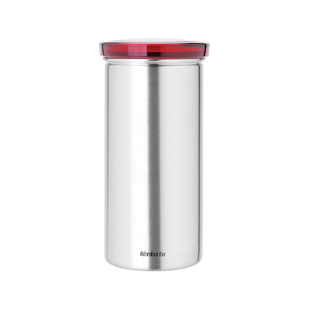 Буркан Brabantia за 18 броя кафе-капсули Matt Steel Fingerprint Proof с червен капак