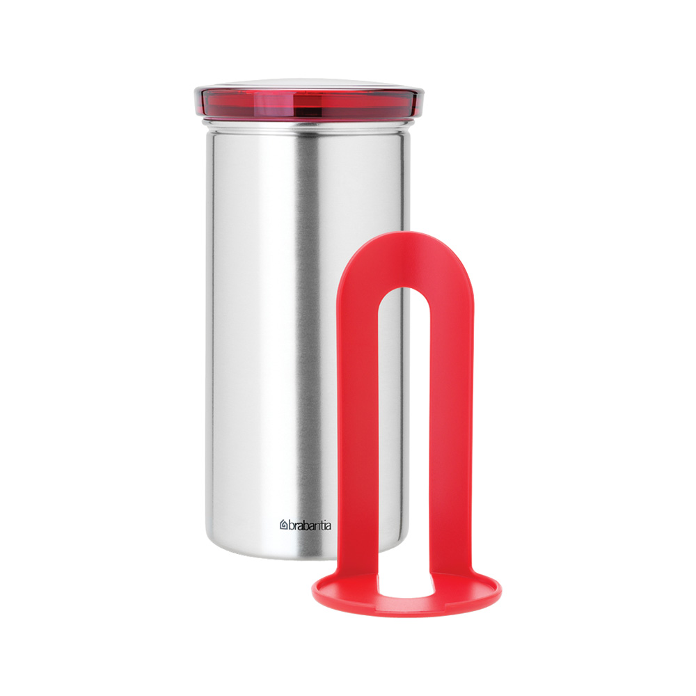 Буркан Brabantia за 18 броя кафе-капсули Matt Steel Fingerprint Proof с червен капак(1)