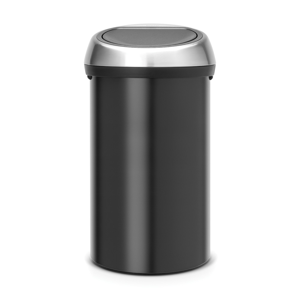 Кош за смет Brabantia Touch Bin 60L, Matt Black, метален капак