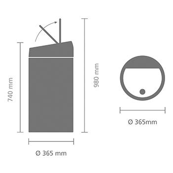 Кош за смет Brabantia Touch Bin 60L, Matt Black, метален капак(12)