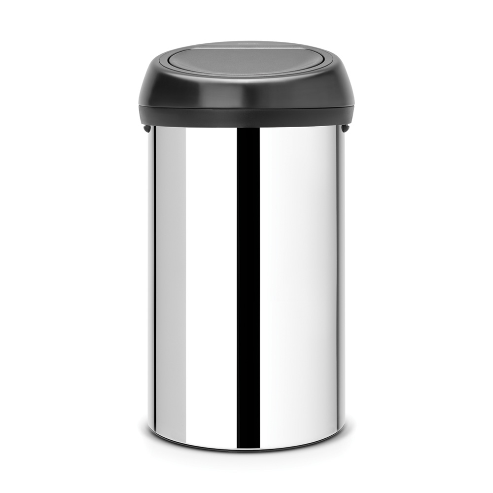 Кош за смет Brabantia Touch Bin 60L, Brilliant Steel, черен капак