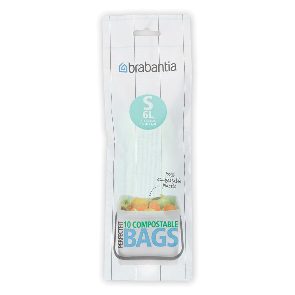 Торба за кош Brabantia размер S (Sort&Go), 6L, 10 броя, зелени, биоразградими