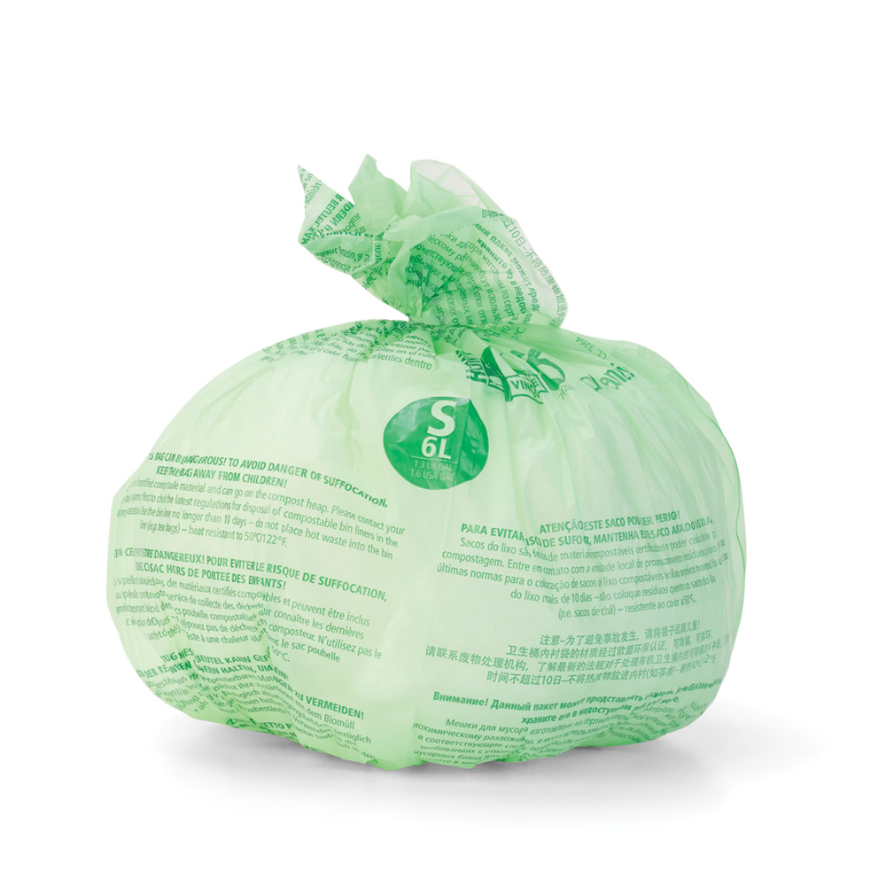 Торба за кош Brabantia размер S (Sort&Go), 6L, 10 броя, зелени, биоразградими(2)