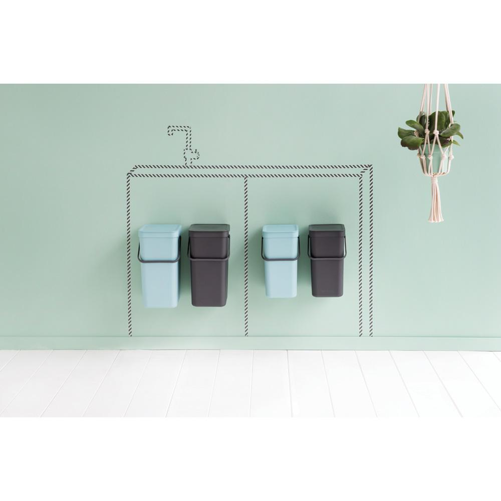 Кош за смет за разделно събиране Brabantia Sort&Go 2x12L, Mint & Grey, за вграждане(12)