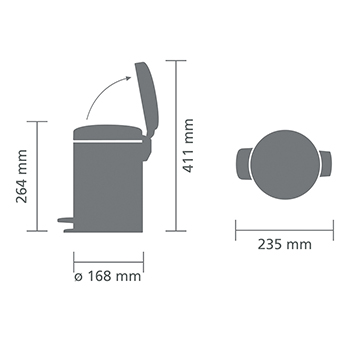 Кош за смет с педал Brabantia NewIcon 3L, Metallic Grey(5)