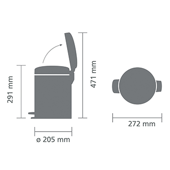 Кош за смет с педал Brabantia NewIcon 5L, Metallic Grey(6)