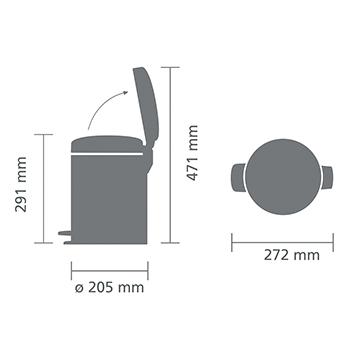 Кош за смет с педал Brabantia NewIcon 5L, Brilliant Steel, метална кофа(5)