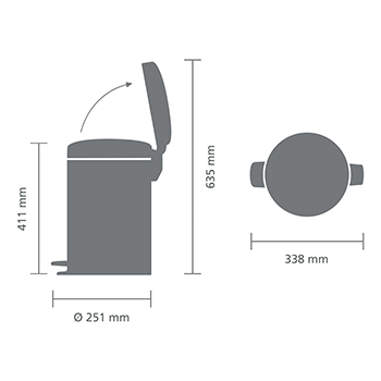 Кош за смет с педал Brabantia NewIcon 12L, Metallic Grey(5)