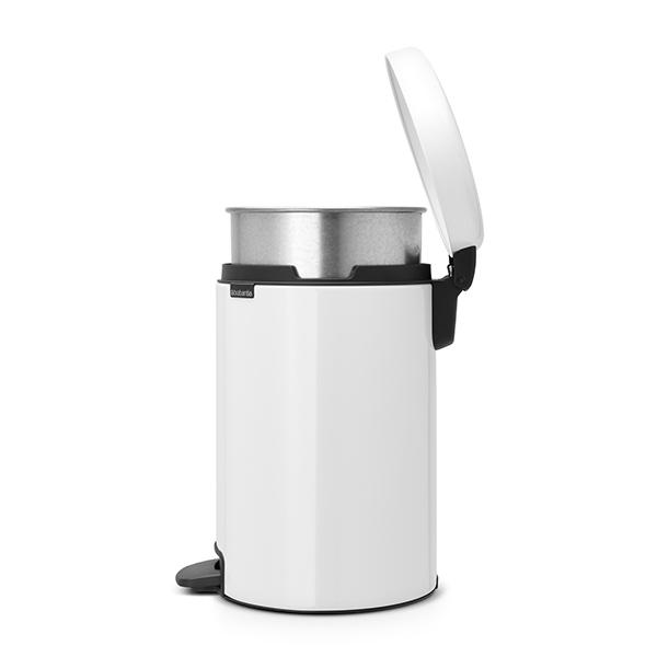 Кош за смет с педал Brabantia NewIcon 12L, White, метална кофа(3)