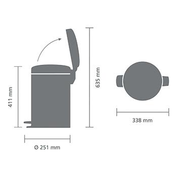 Кош за смет с педал Brabantia NewIcon 12L, Brilliant Steel, метална кофа(6)