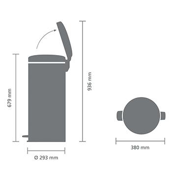 Кош за смет с педал Brabantia NewIcon 30L, Matt Steel, метална кофа(4)