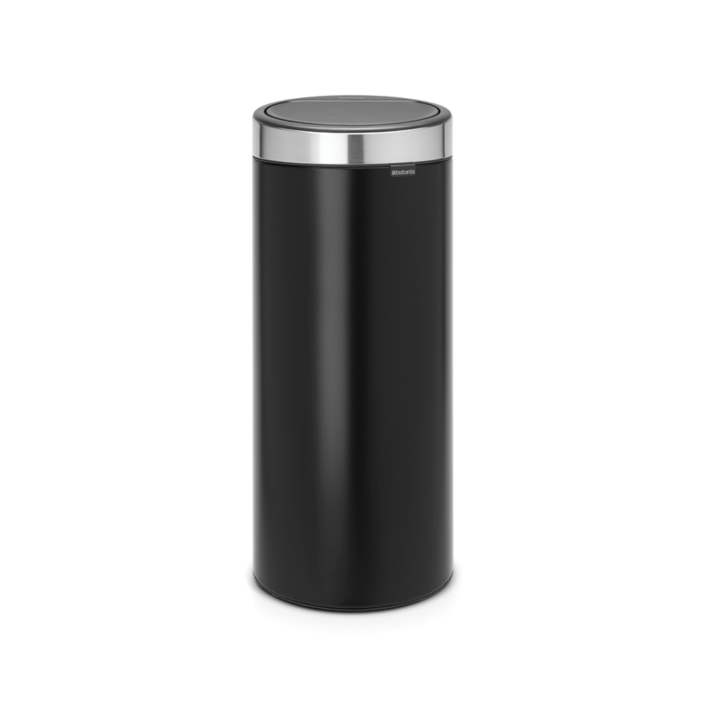 Кош за смет Brabantia Touch Bin New 30L, Matt Black, капак металик