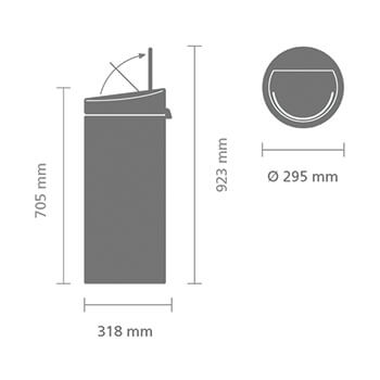 Кош за смет Brabantia Touch Bin New 30L, Matt Black, капак металик(11)