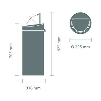 Кош за смет Brabantia Touch Bin New 30L, Matt Steel(12)