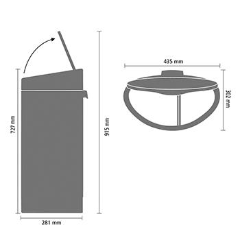 Кош за смет Brabantia Touch Bin New Recycle 23+10L, Matt Steel Fingerprint Proof(9)