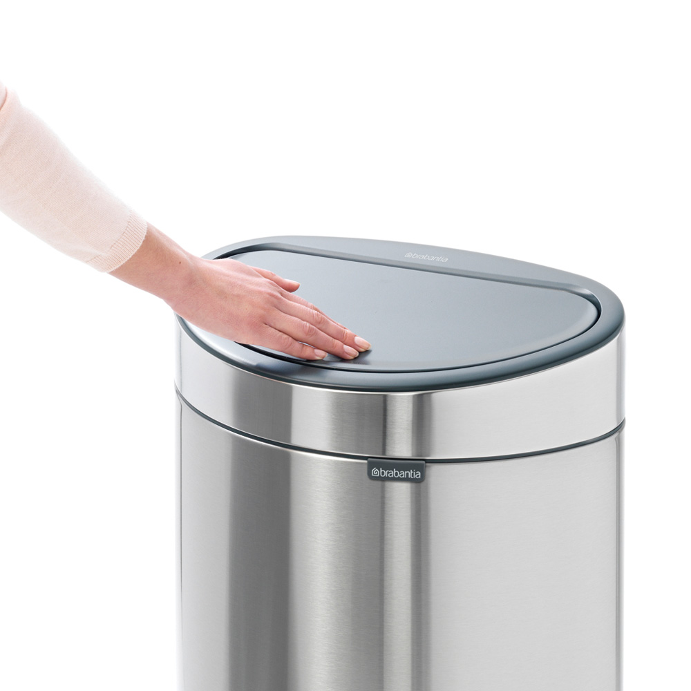 Кош за смет Brabantia Touch Bin New 40L, Platinum, капак металик(6)