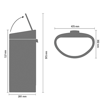 Кош за смет Brabantia Touch Bin New 40L, Matt Black, капак металик(11)