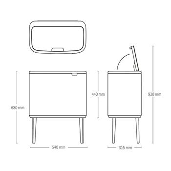 Кош за смет Brabantia Bo Touch 11/23L, Matt Steel Fingerprint Proof(16)