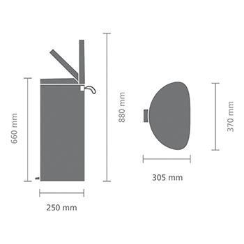 Кош за смет с педал Brabantia FlatBack+ 30L, Mineral Concrete Grey(9)