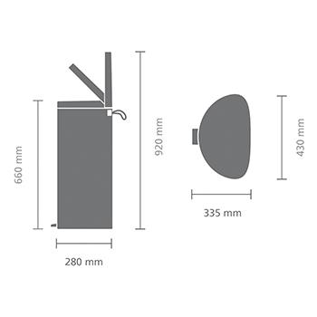 Кош за смет с педал Brabantia FlatBack+ 40L, Mineral Infinite Grey(8)