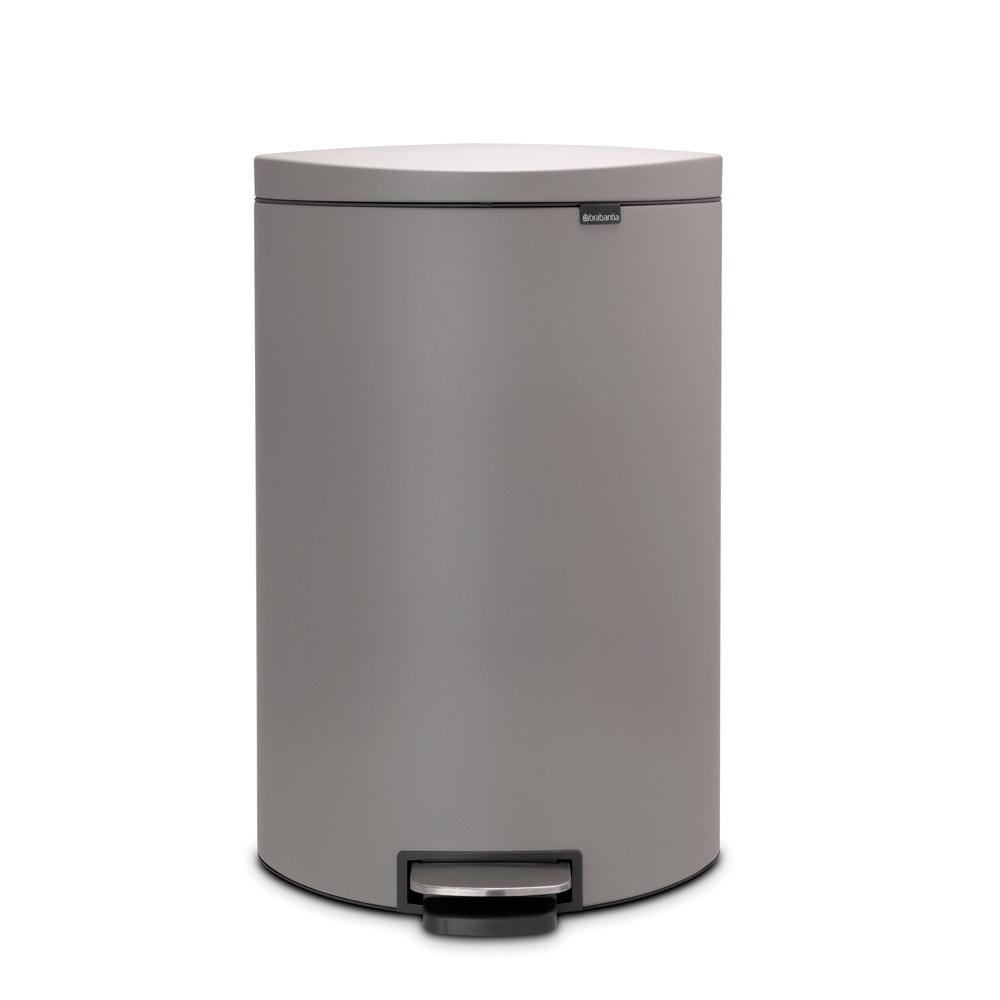 Кош за смет с педал Brabantia FlatBack+ 40L, Mineral Concrete Grey