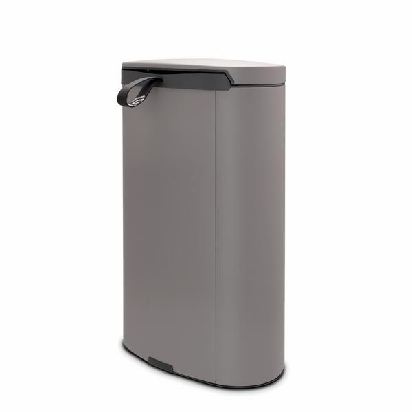 Кош за смет с педал Brabantia FlatBack+ 40L, Mineral Concrete Grey(2)